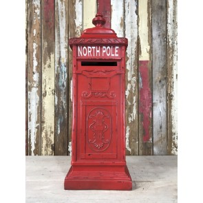 North Pole Father Christmas Letterbox Pillar Square Postbox New Resin 91cm Tall