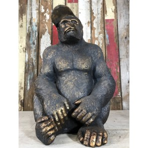 58cm Tall 40cm Wide Detailed Sitting Gorilla With Baseball Cap On Statue