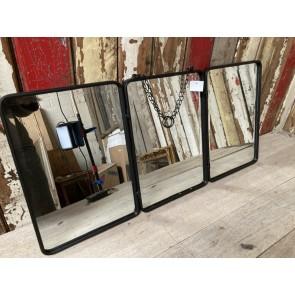 Triple Industrial Style Metal Frame Folding Mirror's Bevelled Glass Steel