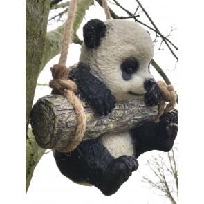 Cute Swinging Resin Panda Cub Garden Figure Amazing Detail and Texture