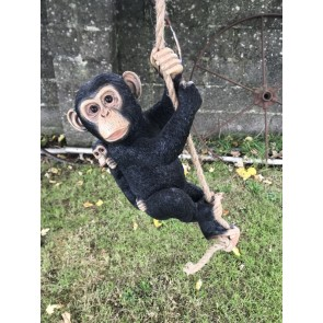 Hanging On Rope Mother Monkey With Cheeky Baby Jungle Garden Home Ornament 40cm Tall Resin