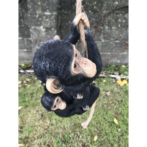 Hanging Mother Monkey With Cheeky Baby Jungle Garden Home Ornament 40cm