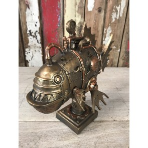 Steampunk Style Robot Piranha Fish Industrial Home Decoration New Resin Gold Finish