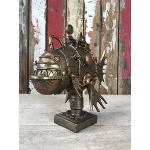 Steampunk Robot Piranha Fish Industrial Home Decoration Resin Gold Finish