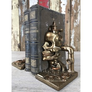 Steampunk Style Head & Skull Book Ends Industrial Home Decoration Gold Finish