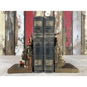 Steampunk Style Steam Engine Book Ends Industrial Home Decoration New Resin Gold Finish