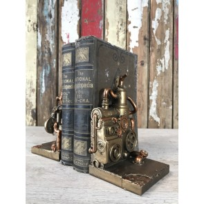 Steampunk Style Steam Engine Book Ends Industrial Home Decoration Gold Finish