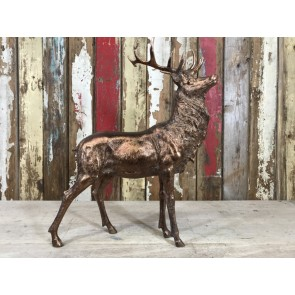 Standing Stag Buck Deer Aged Antique Gold Bronze Finish Resin 55cm High