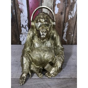 Gold Sitting Gorilla Statue With Headphones, Shades & Phone New Resin 35cm Tall
