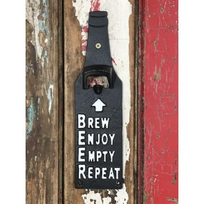 "Bottle Shape Beer Top Opener ""BREW ENJOY EMPTY REPEAT"" Wall Mounted Cast Iron"