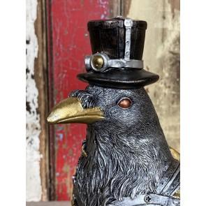 Detailed Steampunk Mad Hatter Raven Bird Key Holder Decoration