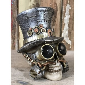 Steampunk Resin Skull with Silver Top Hat and Feather Amazing detail