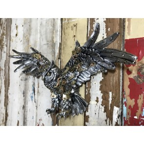 Steampunk Silver Owl Bird Industrial Wall Decoration Resin 49cm Wide Animal