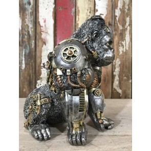 Steampunk Silver Gorilla Industrial Style Unusal Resin 28cm Tall