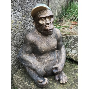 """12"""" Tall Detailed Sitting Resin Gorilla With Baseball Cap On Decorative Figure"""
