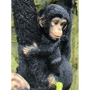 Swinging On A Rope Resin Monkey With Banana & Baby Garden Figure Amazing