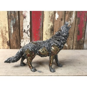 """Steampunk Howling Wolf Industrial Decoration Figure K9 10"""" Tall"""