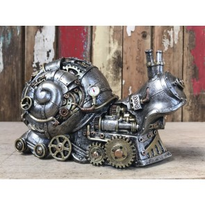 Steampunk Resin Silver Snail with Amazing Gold and Copper Detail
