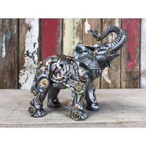 Steampunk Resin Silver Elephant with Amazing Gold & Copper Detail Unusal