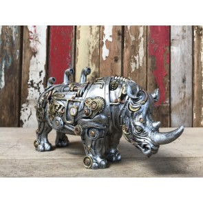 Steampunk Silver Resin Rhinoceros Industrial Style with Gold and Copper Detail