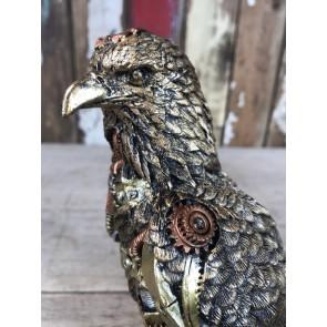 """Steampunk Golden Eagle 9""""Tall Gold Bronze Copper Detail Robotic Bird New"""