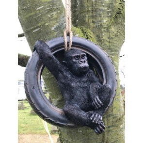 Swinging Cheeky Black Gorilla In Motor Bike Tyre Garden Statue Resin
