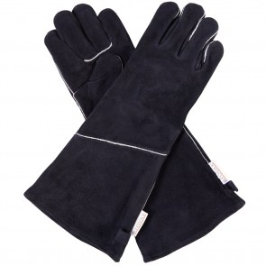 Pair of Stovax Black Fireside Heat Resistant Leather Gloves Long Length