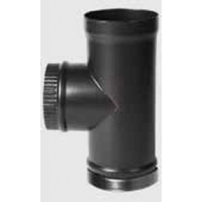 Stovax Enamelled 90 Degree Tee Piece With End Cap Flue Pipe Matt Black 6in 150mm