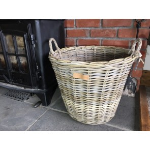 50x40cm Grey Kubu Rattan Fireside Log Wood Basket Handmade