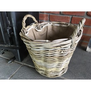 35x35cm Grey Kubu Rattan Lined Log Basket Handmade Wicker