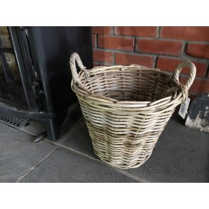 35x35cm Small Grey Kubu Rattan Log Basket Handmade Wicker