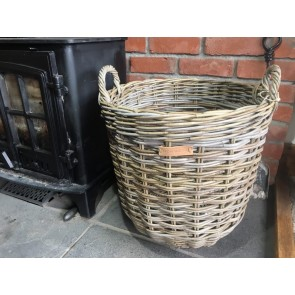 46x54cm Medium Round Grey Kubu Rattan Log Basket Handmade Wicker