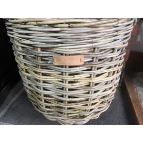 40x48cm Small Round Grey Kubu Rattan Log Basket Handmade Wicker