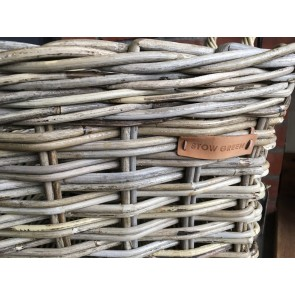 50x50x54cm Medium Square Grey Kubu Rattan Log Basket Handmade Wicker