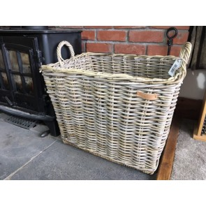 62x47x56cm Large Oblong Grey Kubu Rattan Log Basket Handmade Wicker