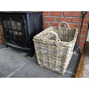 52x40x47cm Medium Oblong Grey Kubu Rattan Log Basket Handmade Wicker