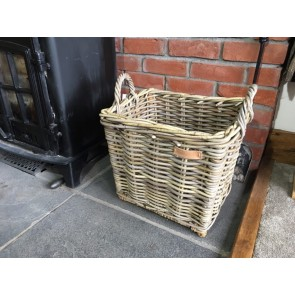 42x33x43cm Small Oblong Grey Kubu Rattan Log Basket Handmade Wicker