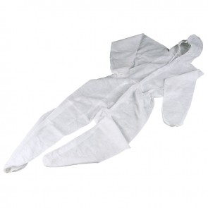 XL Disposable Overalls White Coverall with Hood 40gsm