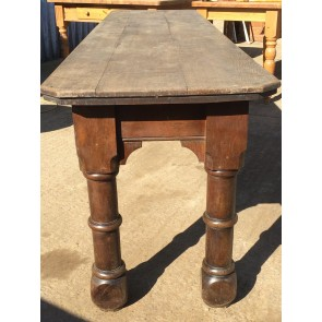 Antique Solid Oak Victorian Narrow 3 Plank Refectory Long Table 8' X 2'