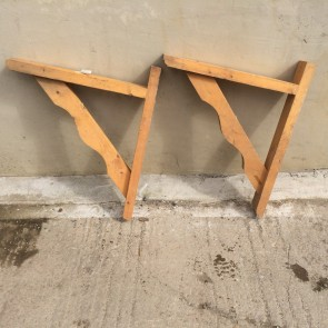 Large Chunky Pair Of Reclaimed Pine Shelf Wall Brackets