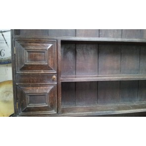 Reclaimed 6ft Solid Dark Oak Dresser With 3 Drawers & 2 Small Cupboards