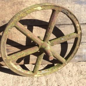 "Old Early Victorian Cast Iron 6 Spoke Implement Wheelbarrow Wheel Ornament 14"""