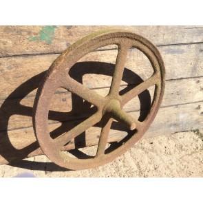 "Old Early Victorian Cast Iron 6 Spoke Implement Wheelbarrow Wheel Ornament 18"""