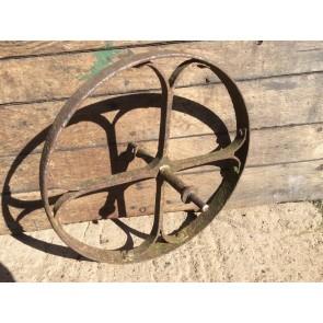 "Old Reclaimed Wrought Iron 4 Spoke Implement Wheelbarrow Wheel Ornament 19"""