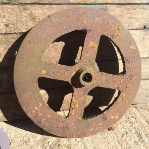 "Old Reclaimed Cast Iron 4 Spoke Rusty Wheel Disk Ornament 20"""