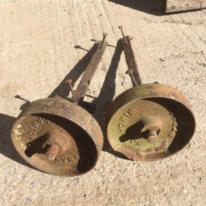 Reclaimed Pair Of Old Solid Cast Iron Wheels With Seized Stub Axles Ornaments