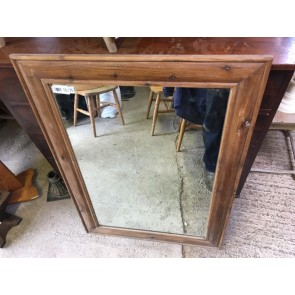"""Old Reclaimed Large Pine Frame With An Even Older Mirror 43"""" X 31"""""""