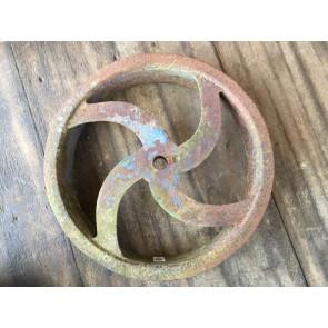 "Old Salvaged Victorian Cast Iron 18"" Flywheel Pulley Machine Drive Wheel"