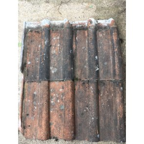 "Reclaimed Old 16¾"" X 13 ½"" Red Terracotta Clay Double Roman Tiles"