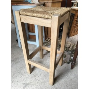 "Old Kitchen Waxed Solid Beech & Grass Seat Stool 30"" High"